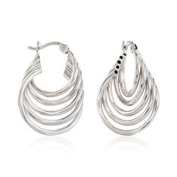 "Sterling Silver Twisted Multi-Hoop Earrings. 1"", , default"