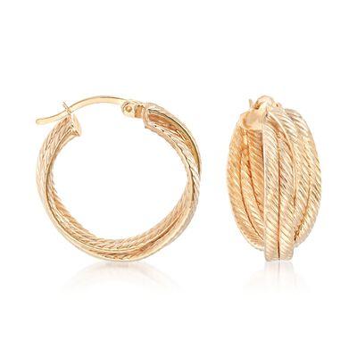 18kt Gold Over Sterling Silver Striped Crisscross Hoop Earrings, , default