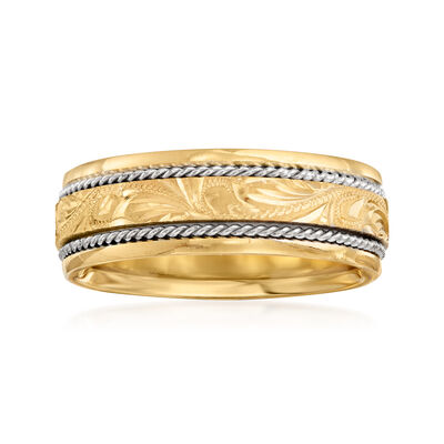 Men's 7mm 14kt Two-Tone Gold Engraved Wedding Band