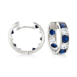 .80 ct. t.w. Sapphire and .40 ct. t.w. Diamond Hoop Earrings in 14kt White Gold, , default