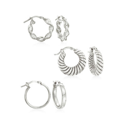 Italian Sterling Silver Jewelry Set: Three Pairs of Hoop Earrings