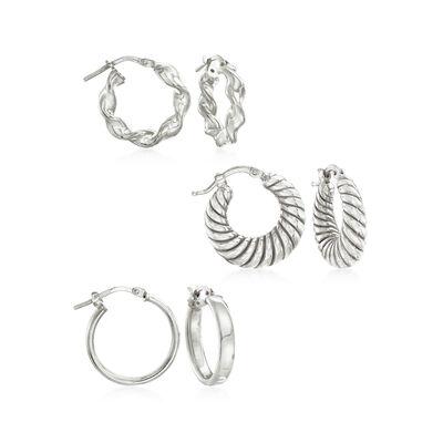 Italian Sterling Silver Jewelry Set: Three Pairs of Hoop Earrings, , default