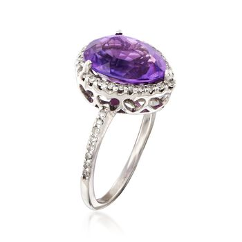 C. 1990 Vintage 3.10 Carat Amethyst and .35 ct. t.w. Diamond Ring in 14kt White Gold. Size 6, , default