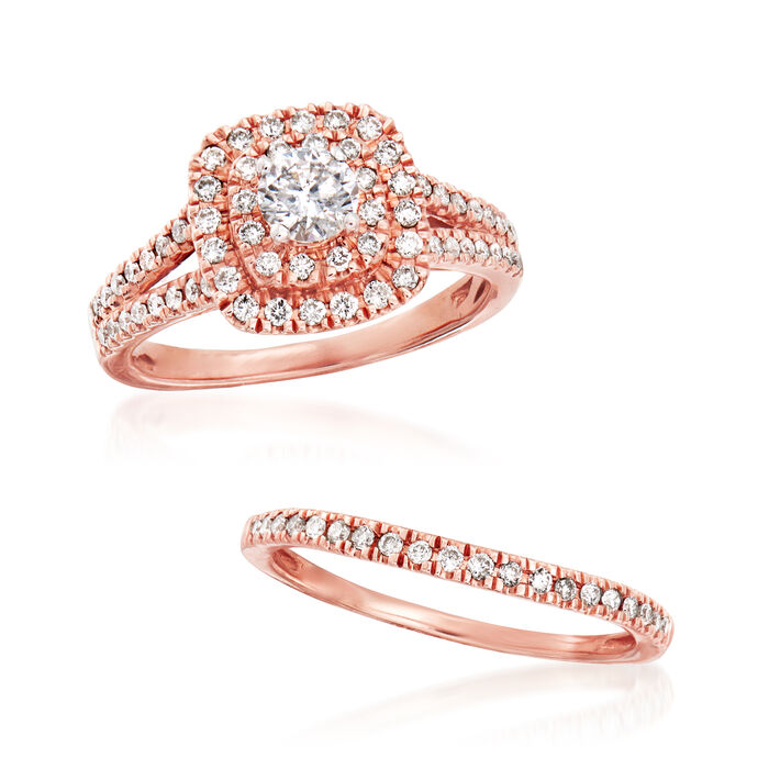 1.00 ct. t.w. Diamond Bridal Set: Engagement and Wedding Rings in 14kt Rose Gold