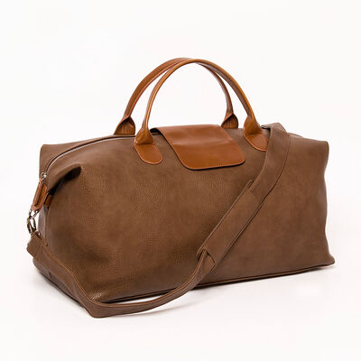 """Brouk & Co. """"Alpha"""" Brown and Tan Faux Leather Duffel Bag"""