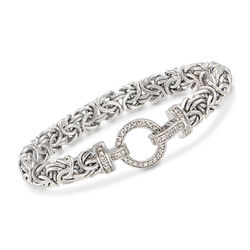 .30 ct. t.w. Diamond and Sterling Silver Byzantine Bracelet, , default