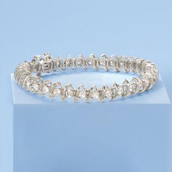 "5.00 ct. t.w. Diamond S-Link Bracelet in 14kt White Gold. 7"", , default"