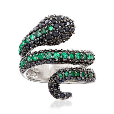 Black Spinel and .90 ct. t.w. Emerald Snake Ring in Sterling Silver, , default