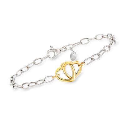 Italian 14kt Yellow Gold and Sterling Silver Interlocking Heart Bracelet, , default