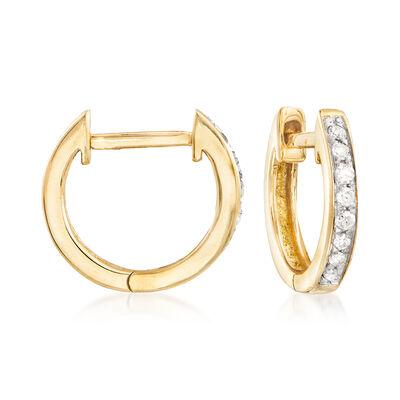 .10 ct. t.w. Diamond Huggie Hoop Earrings in 14kt Yellow Gold, , default