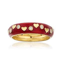 C. 2000 Vintage Hidalgo .12 ct. t.w. Diamond and Red Enamel Heart Ring in 18kt Yellow Gold, , default