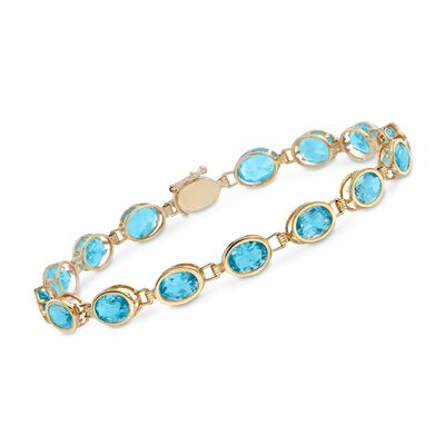 14.00 ct. t.w. Oval Bezel-Set Swiss Blue Topaz Bracelet in 14kt Yellow Gold, , default