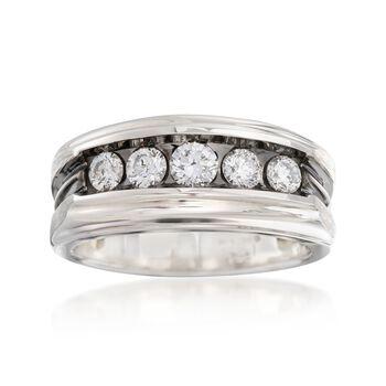 Men's 1.00 ct. t.w. Diamond Wedding Ring in 14kt White Gold With Black Rhodium, , default