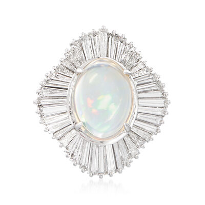 C. 2000 Vintage Jelly Opal and 2.75 ct. t.w. Diamond Ring in Platinum