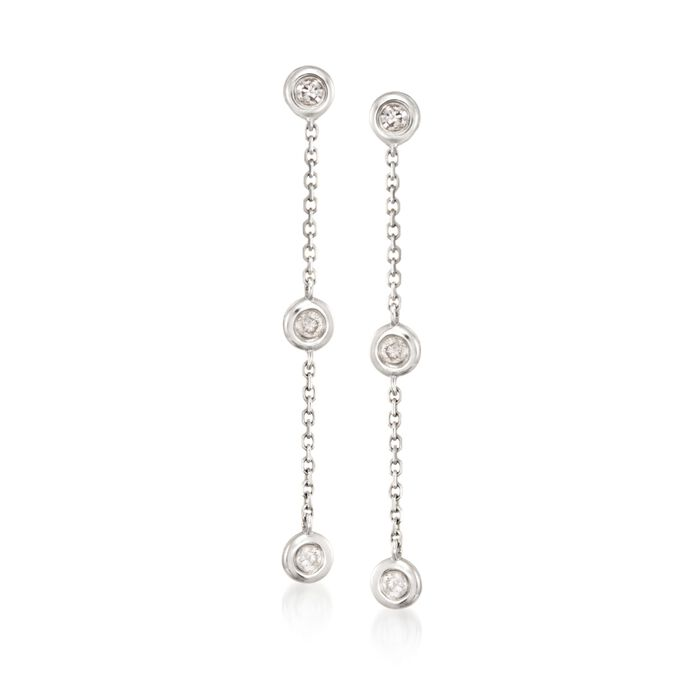 .17 ct. t.w. Diamond Station Linear Earrings in 14kt White Gold, , default