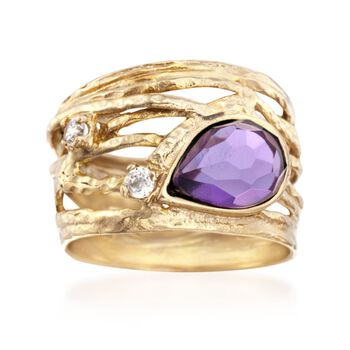 1.50 Carat Amethyst and .12 ct. t.w. CZ Ring in 18kt Gold Over Sterling, , default