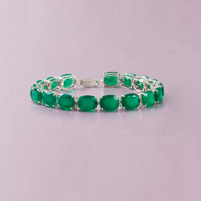 Cushion-Cut Green Chalcedony Tennis Bracelet in Sterling Silver