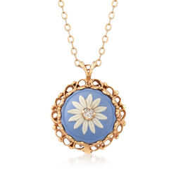 C. 1980 Vintage 14kt Yellow Gold and Multicolored Porcelain Flower Pendant With Diamond Accent, , default