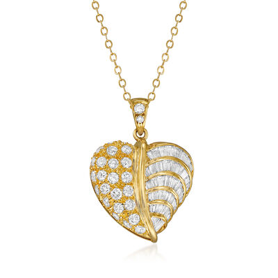 C. 1990 Vintage 2.25 ct. t.w. Diamond Heart Pendant Necklace in 14kt Yellow Gold, , default