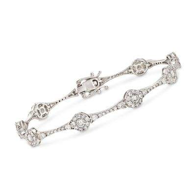4.00 ct. t.w. Diamond Circle Station Link Bracelet in 14kt White Gold, , default
