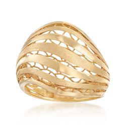 Italian 18kt Yellow Gold Openwork Ring, , default