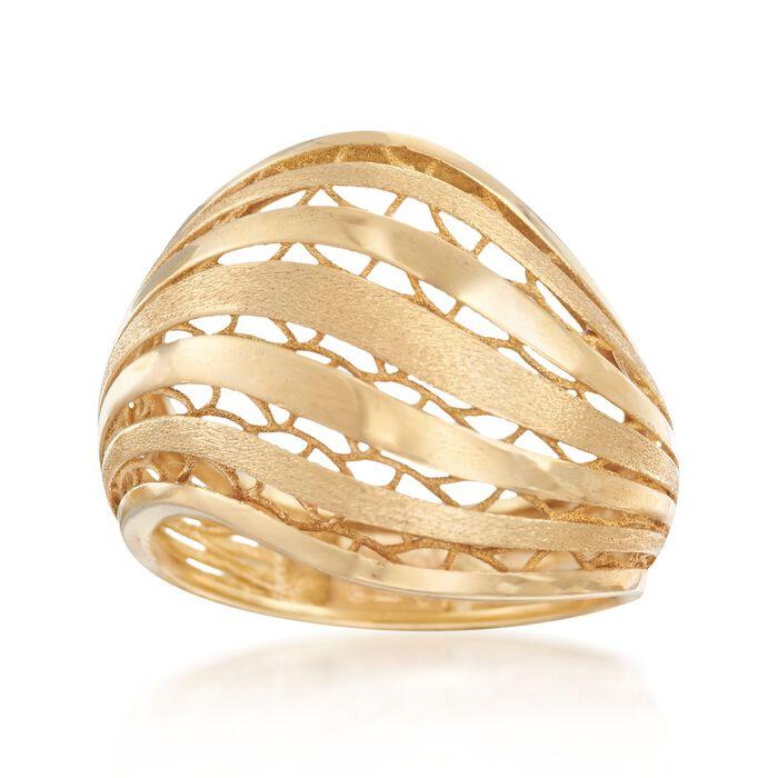 Italian 18kt Yellow Gold Openwork Ring. Size 5, , default