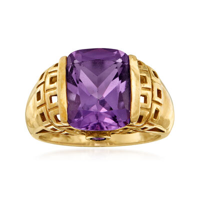 C. 1980 Vintage 4.52 ct. t.w. Amethyst Ring in 10kt Yellow Gold