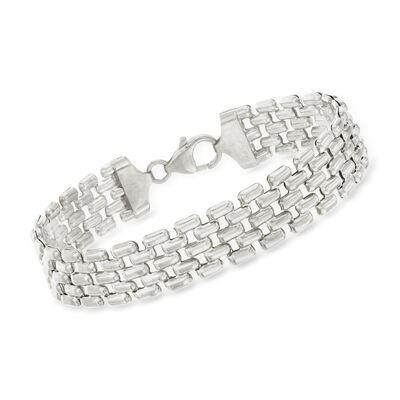 Italian Sterling Silver Panther-Link Bracelet, , default