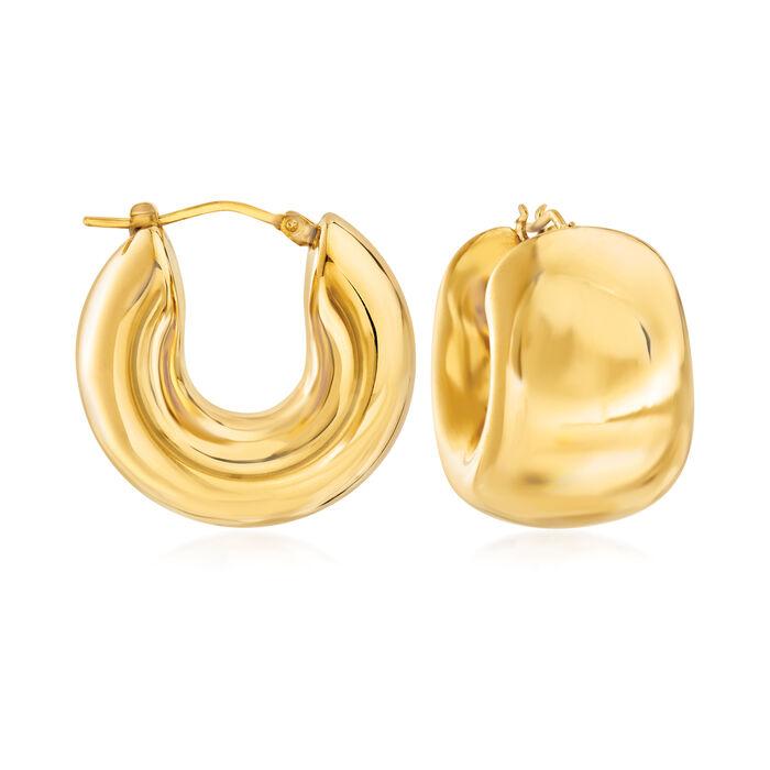 "Italian Andiamo 14kt Yellow Gold Wide Huggie Hoop Earrings. 3/4"", , default"