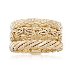 14kt Yellow Gold Jewelry Set: Three Stackable Rings, , default