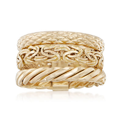 14kt Yellow Gold Jewelry Set: Three Stacked Rings, , default