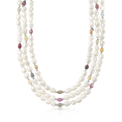 7.5-8.5mm Cultured Baroque Pearl and 135.00 ct. t.w. Multicolored Sapphire Bead Endless Necklace, , default