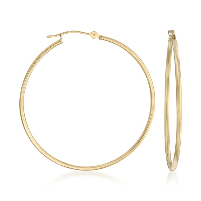 """1.5mm 14kt Yellow Gold Extra-Large Hoop Earrings. 1 1/2"""""""