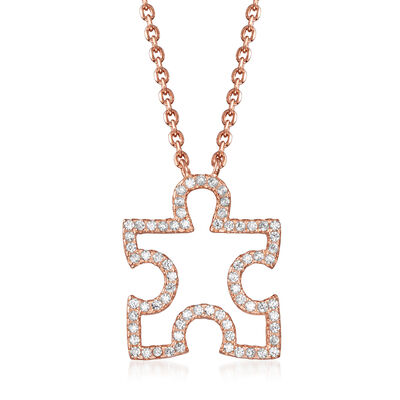 .38 ct. t.w. CZ Puzzle Piece Necklace in 18kt Rose Gold Over Sterling Silver, , default