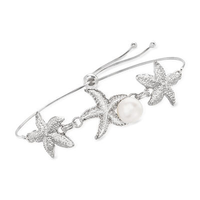 8.5-9mm Cultured Pearl Starfish Trio Bolo Bracelet in Sterling Silver
