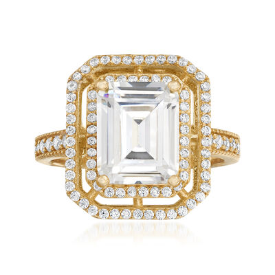 3.70 ct. t.w. CZ Double-Frame Ring in 18kt Gold Over Sterling, , default