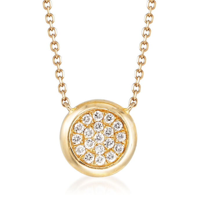 .20 ct. t.w. Pave Diamond Circle Necklace in 14kt Yellow Gold