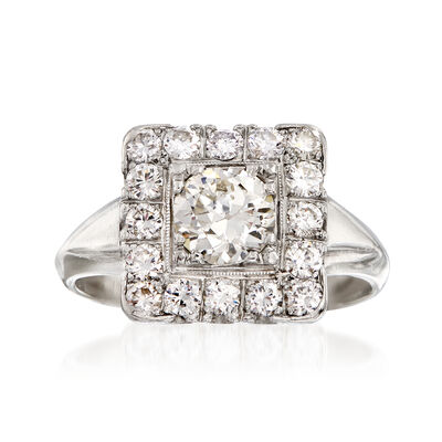 C. 1980 Vintage 1.60 ct. t.w. Diamond Square-Top Ring in Platinum