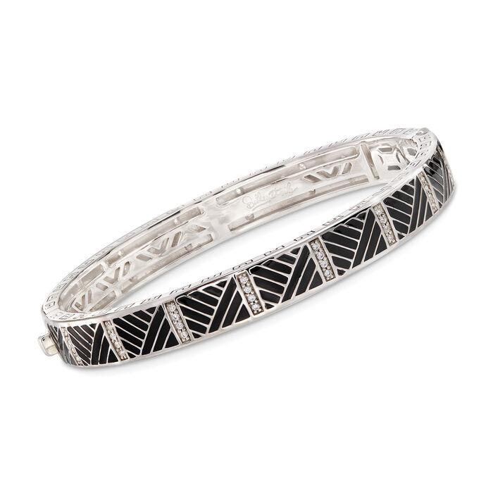 "Belle Etoile ""Laguna"" Black Enamel and .64 ct. t.w. CZ Bangle Bracelet in Sterling Silver. 7"""