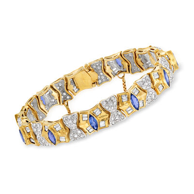 C. 1980 Vintage 5.30 ct. t.w. Diamond and 3.85 ct. t.w. Sapphire Bracelet in 14kt Yellow Gold, , default