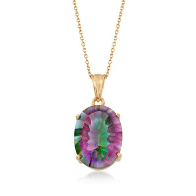 16.00 Carat Multicolored Quartz Solitaire Necklace in 18kt Gold Over Sterling, , default
