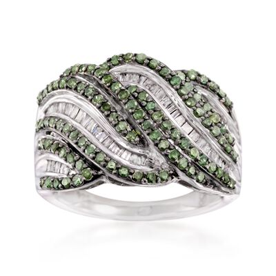 1.00 ct. t.w. Green and White Diamond Wave Ring in Sterling Silver