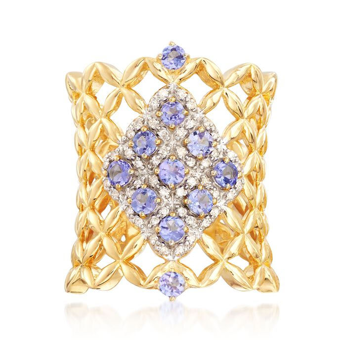 .60 ct. t.w. Tanzanite and .13 ct. t.w. Diamond Woven Band Ring in 18kt Yellow Gold Over Sterling, , default