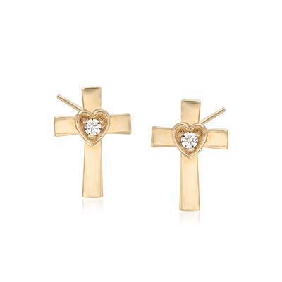 Child's 14kt Yellow Gold Cross and Heart Earrings with CZ Accents, , default
