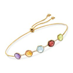 3.50 ct. t.w. Bezel-Set Multi-Stone Bolo Bracelet in 14kt Yellow Gold, , default