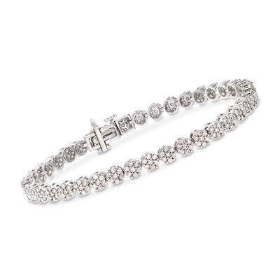 3.00 ct. t.w. Diamond Flower Bracelet in Sterling Silver, , default
