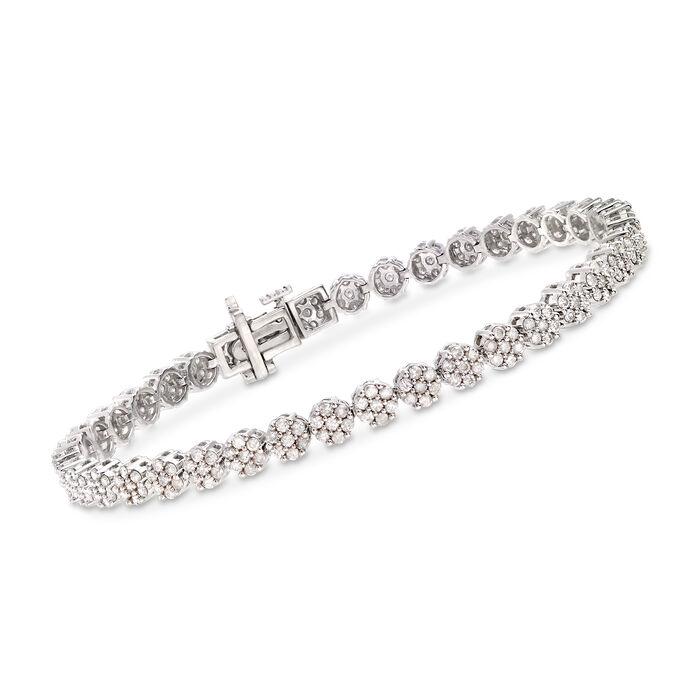 """3.45 ct. t.w. Diamond Flower Bracelet in Sterling Silver. 8"""", , default"""
