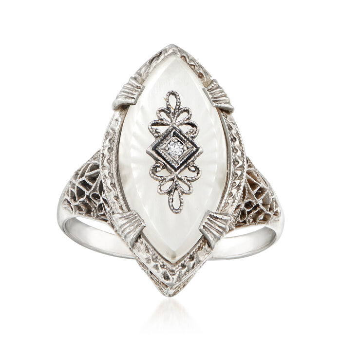 C. 1950 Vintage Diamond-Accented Carved Glass Ring in 14kt White Gold. Size 7