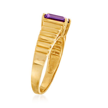 C. 1980 Vintage .75 Carat Amethyst Ring in 14kt Yellow Gold. Size 6.75, , default