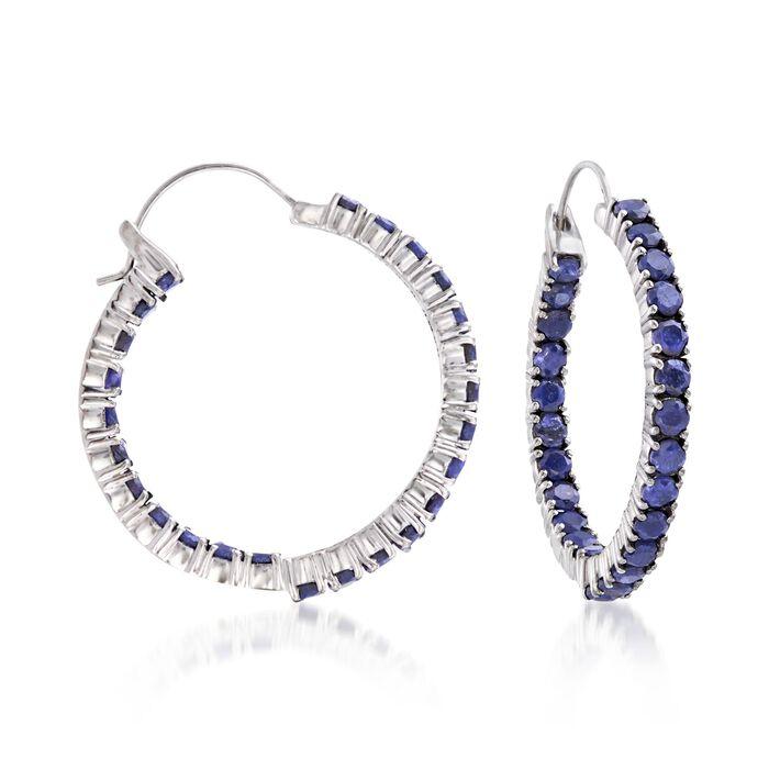 """6.00 ct. t.w. Sapphire Inside-Outside Hoop Earrings in Sterling Silver. 1 3/8"""""""